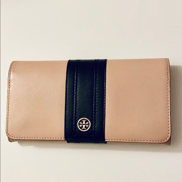 Tory Burch Handbags - Tory Burch pink and black continental wallet